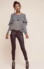 NWT Anthropologie AG brown Leatherette Legging Super Skinny Ankle Jeans 24R $225