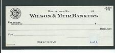 wbc. - CHEQUE - CH1073 - UNUSED -19xx's- WILSON & MUIR BANKERS, BARDSTOWN KY USA
