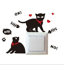 TWO BLACK CATS LIGHT SWITCH WALL DECAL MULTI PART STICKER