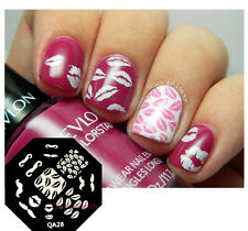 Nail Art Stamping Plates Image Stamp Template Cute Moustache Lips Design QA28
