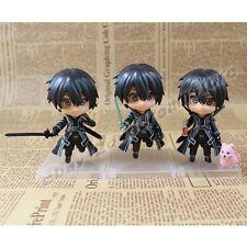 """NEW! Set Of 3pcs S.A.O. Sword Art Online Kirito 9cm/3.6"""" Cutie PVC Figure Loose"""