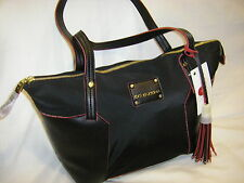 NWT Big Buddha Black & Red Nylon & PVC Medium Size Shoulder Bag Purse $90