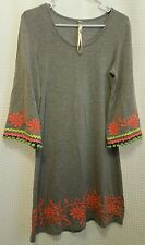 Uncle Frank Sz XS EMBROIDERED Gray Dress 3/4 Sleeve ~ CUTE!