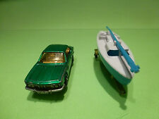 MAJORETTE 235 BMW 3.0 CSI + BOAT TRAILER - GREEN 1:60 - RARE SELTEN - GOOD