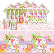 Wild Safari Pink Girl's 1st Birthday Complete Party Tableware Pack Kit For 16