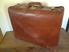 Vintage Corbin Sesamee Suitcase Old Distressed Leather Luggage linen lining lock
