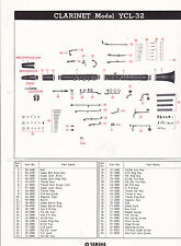 1980 YAMAHA MUSICAL INSTRUMENT PARTS LIST ad sheet - CLARINET model YCL-32