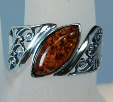 Genuine Baltic Honey Amber Floral Marquise Sterling Silver Ring Size 6