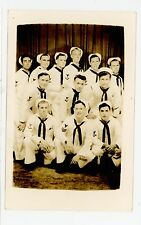 Handsome Navy Men RPPC Vintage WWII Military Photo USS Griffin 1940s