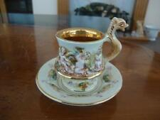 FINE VINTAGE NAPLES CAPODIMONTE ITALY PORCELAIN CUP AND SAUCER. #1b.