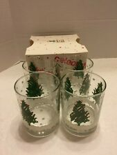 Beautiful Vintage May Company Old Fashioned Set of Glasses-Design Christmas Tree