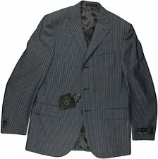 CORNELIANI GRAY WITH BLUE STRIPE SUIT-50/40R-WOOL & MOHAIR-MADE IN ITALY