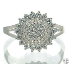 Solid 925 Sterling Silver Lab Simulated Diamond Sunflower Ring Sz 7 '