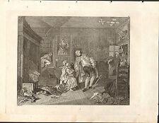 1818 Grabado Cobre Hogarth georgiano ~ el asesinato del Earl squanderfield