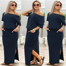 Women Crew Neck Party Evening Cocktail Bodycon Slim Long Maxi/Short Pocket Dress