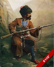 CIRCASSIAN WARRIOR IN TRADITIONAL UNIFORM & RIFLE PAINTING REAL CANVASART PRINT