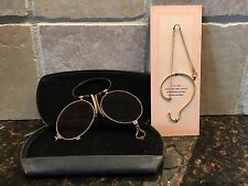Antique Folding Eyeglasses~Pince Nez ~ AND Ear Piece/Chain 1-10 12k Gold Filled
