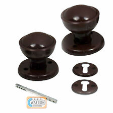 60mm BROWN Plastic RIM Door Knob Set Mortice Latch Round Ball Style