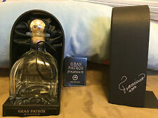 Gran Patron Platinum Silver Tequila Bottle & Black Storage Case Box 750 ml Empty