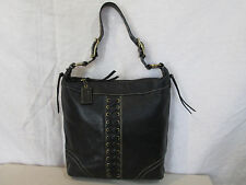 Genuine Coach pebbled duffle leather grommet woven shoulder bag in black