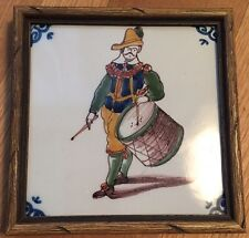 Old vintage Crown Mark JJ HOLLAND TILE DELFT BLUE Drummer Dutch