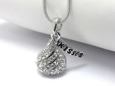 NEW CRYSTAL HERSHEY KISSES CHOCOLATE KISS PENDANT NECKLACE