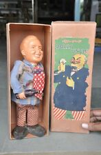 Vintage Wind Up Boxed MT Trademark Celluloid & Wooden Jolly Uncle Toy , Japan
