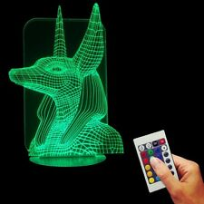 Remote Controlled 3D USB Egypt Anubis Color Changing Lamp LED Light for Xmas