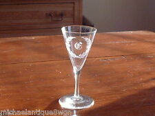 """Antique 19ThC Hand Blown Wine Glass with Engraved Initial """"F"""" Within a Wreath"""