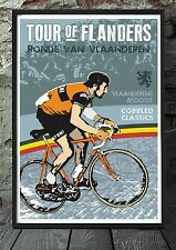 Tour of flanders bicycle poster celebrating the classics . Specially created