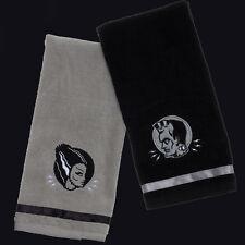 SOURPUSS MONSTER HAND TOWEL SET. FRANKENSTEIN AND BRIDE. HORROR. HALLOWEEN.