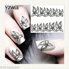 Nail Art Water Decals Stickers Black Lace Starfish Flowers Gel Polish (b332)