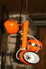 lampe lustre suspension eye ball design vintage 3 boules orange italie