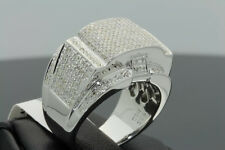 1.28 CARAT MENS WHITE GOLD FINISH DIAMOND ENGAGEMENT WEDDING PINKY BAND RING