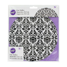 "Wilton Cake Doilies 8"" Black/White Damask Design - (16 Pack)"