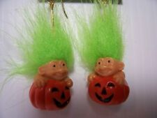 "HALLOWEEN PUMPKIN EARRINGS - 2"" Russ Troll Dolls - NEW IN ORIGINAL WRAPPER"