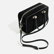 ZARA Black Split Suede Leather City Bag with Strap Messenger Bowling Crossbody