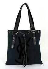 34c3d14a3 YVES SAINT LAURENT Black Canvas SIGNATURE Velvet Logo Applique Tote Bag