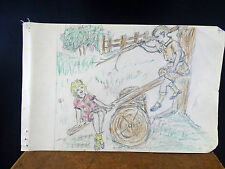 Lovely Color Pencil Drawing Children Playing on Home Made See Saw 1940s Original