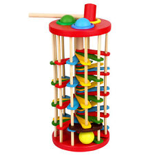Toddler Kids Vintage Wooden Toys Knock Ball On the Ladder Educational Toy Gift