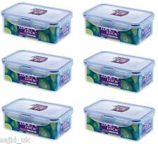 6x Lock and & Lock Food Storage Container Rectangular 1L - 207x134x70mm - HPL817