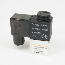 "1/4"" BSPT DC12V AIRTAC Type 2V025-08 Air Valve 2 Position 2 Way Solenoid NC"