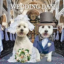 Westie Perros Novia & Novio Boda felicitaciones Brillo tarjeta de saludo