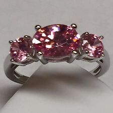 Gorgeous 2.5ct Pink White Sapphire 925 Solid Sterling Silver 3-Stone Ring sz 6