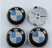4pcsx68mm blue / white BMW modified carbon fiber style wheel hub