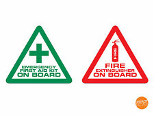4 x Fire Extinguisher & First Aid on board stickers Taxi / Coach Vinyl Decal