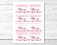 Pink and Gray Polka Dot Elephant Printable Baby Shower Book Request Cards