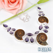 469 Ct Real Natural Handmade Ammonite Fossil Amethyst Gems Silver Necklace