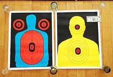 vintage shooting target poster pair silhouette color gun photo art practice pop