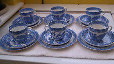 SIX 1900 - 1913   GRAFTON TRIOS CUPS, SAUCERS & SIDE PLATES IN WILLOW PATTERN